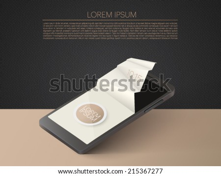 mobile phone with 3d paper screen - vector illustration - stock vector
