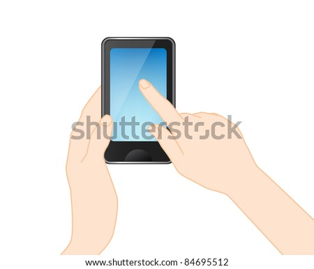 Mobile phone With hand, vector - stock vector