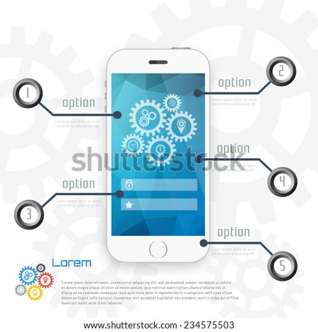 Mobile phone with infographic design elements with gear chain on white background.   Vector illustration. - stock vector