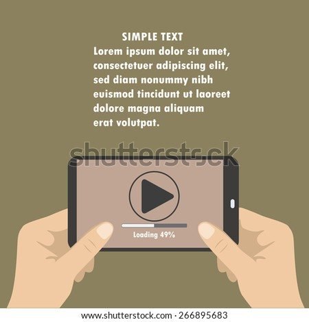 Mobile phone with video player on the screen in the human hands.  - stock vector