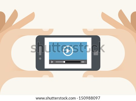 Mobile phone with video player on the screen in the human hands. Idea - Mobile video streaming technologies.  - stock vector