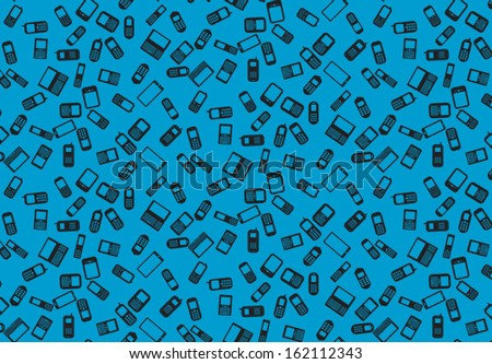 Mobile phones seamless pattern - stock vector