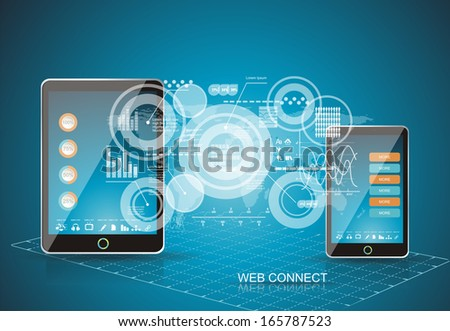 Mobile phones technology business concept. Creative network information process diagram. - stock vector