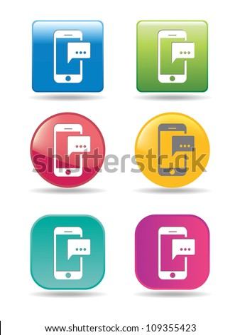 Mobile phones with message icons - stock vector
