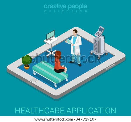 Mobile remote healthcare hospital app flat 3d isometry isometric technology concept web vector illustration. Micro woman doctor interior visiting on top of big tablet pc. Creative people collection. - stock vector