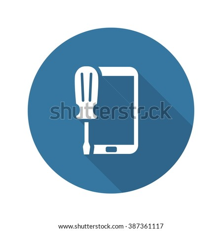 Mobile Repair Icon. Flat Design Isolated Illustration. - stock vector