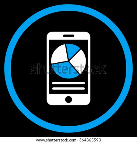 Mobile Report vector icon. Style is bicolor flat circled symbol, blue and white colors, rounded angles, black background. - stock vector