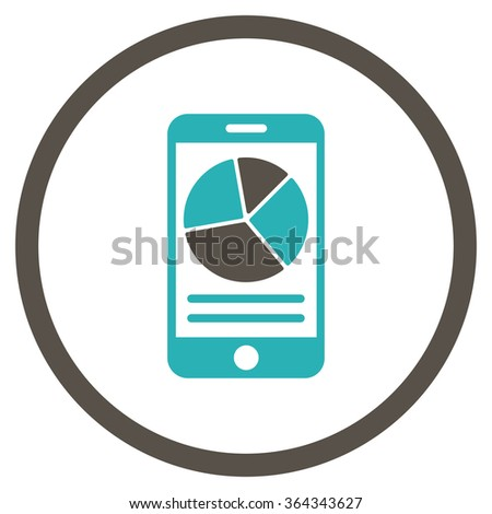 Mobile Report vector icon. Style is bicolor flat circled symbol, grey and cyan colors, rounded angles, white background. - stock vector