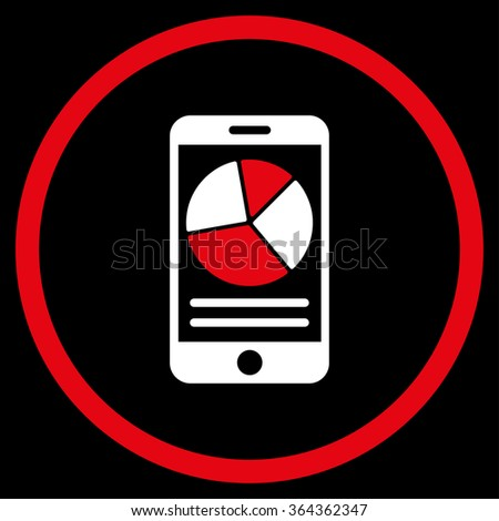 Mobile Report vector icon. Style is bicolor flat circled symbol, red and white colors, rounded angles, black background. - stock vector