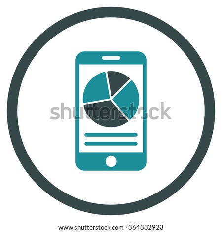Mobile Report vector icon. Style is bicolor flat circled symbol, soft blue colors, rounded angles, white background. - stock vector