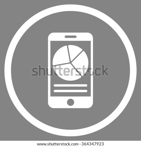Mobile Report vector icon. Style is flat circled symbol, white color, rounded angles, gray background. - stock vector