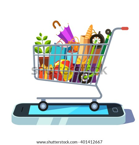 Mobile retail and ecommerce concept. Shopping cart full of goods standing on smartphone. Flat style vector illustration. - stock vector