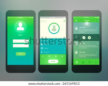 Mobile screen interface design  - stock vector