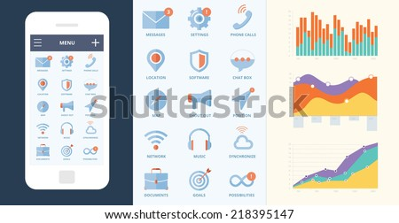 Mobile screen with ui icons, graphics, tables, charts, statistic. Messages, settings, phone calls, location, software, chat box, map, shout, megaphone, position, network, music, synchronize, cloud. - stock vector