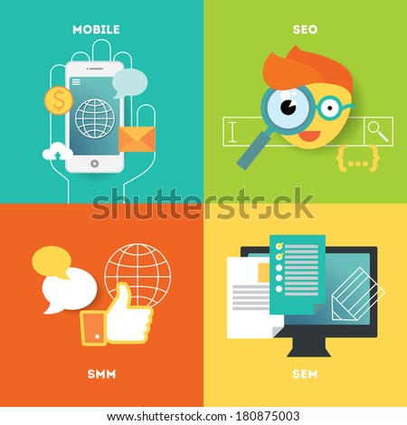 Mobile, search optimization and internet marketing illustration set. Stylish design elements or icons on colored background. Vector modern illustration in flat style. - stock vector