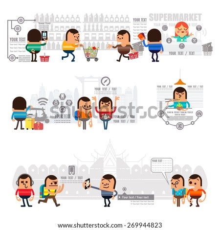 Mobile Shopping and concept infographic  of purchasing product via internet, Travel around the city with mobile GPS navigation street map, Flat icons Vector illustration - stock vector