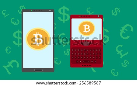 Mobile Shopping Bitcoin Currency - stock vector