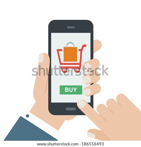 mobile shopping button, flat design isolated on white background - stock vector