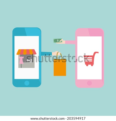 Mobile Shopping Icon - stock vector