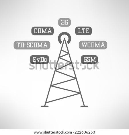 Mobile signal tower station made in modern flat design. Mobile internet infographics. Vector illustration - stock vector