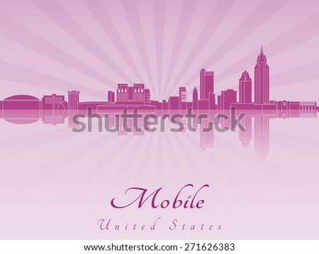 Mobile skyline in purple radiant orchid in editable vector file - stock vector
