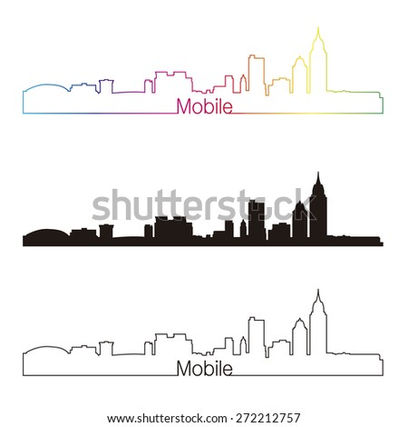 Mobile skyline linear style with rainbow in editable vector file - stock vector