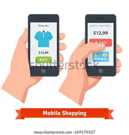 Mobile smartphone ecommerce online shopping and payment. Flat style vector icons. - stock vector
