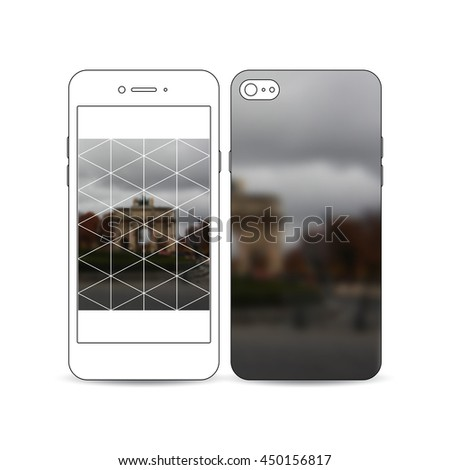 Mobile smartphone with an example of the screen and cover design isolated on white background. Polygonal background, blurred image, urban landscape, Paris cityscape, modern triangular vector texture. - stock vector