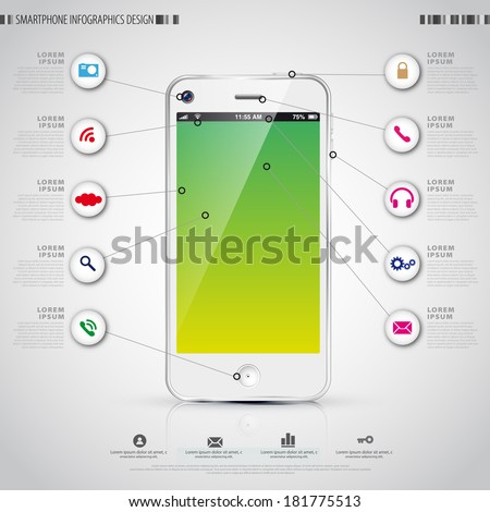 Mobile Smartphone with icon interface. Infographics vector template - stock vector