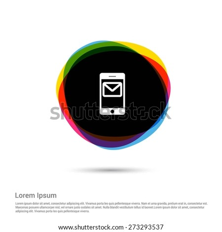 Mobile sms text message mail buttons icon, White pictogram icon creative circle Multicolor background. Vector illustration. Flat icon design style - stock vector