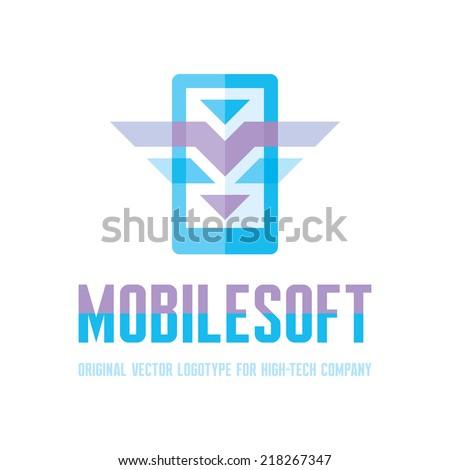 Mobile Soft Logo Sign - Vector logo template. Design element.  - stock vector