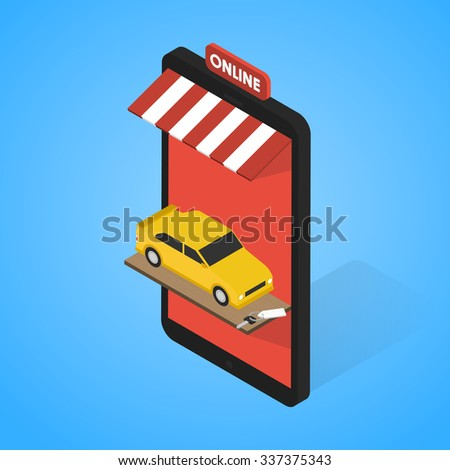 Mobile supermarket internet commerce concept. Rentals and sales of cars online. - stock vector