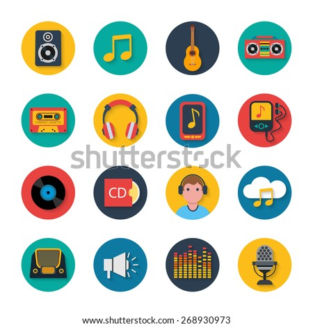 Mobile tablet music navigation symbols collection with player and headphones flat round icons abstract isolated vector illustration - stock vector
