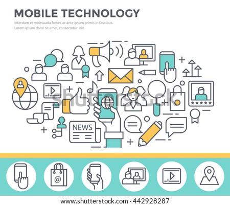 Mobile technology background, concept illustration, thin line flat design - stock vector