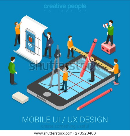 Mobile UI / UX design web infographic concept flat 3d isometric vector. People creating interface on phone tablet. User interface experience, usability, mockup, wireframe development concept. - stock vector