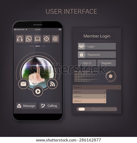 Mobile vector user ui kit form interface. For web page, site bar, art flat icon, device design theme, modern menu app, contact empty box, modern banner, digital gui, media player, widget, mockup set. - stock vector