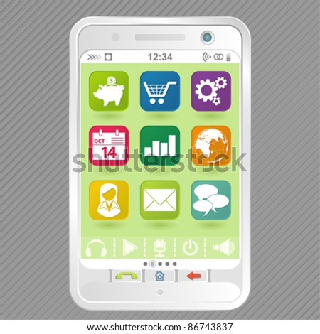 Mobile White Smartphone with icons, element for design, vector illustration - stock vector