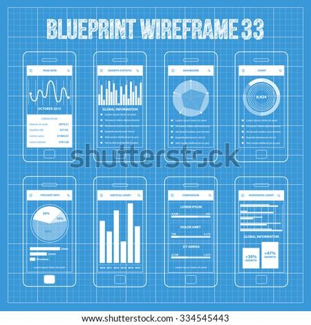 Mobile Wireframe App UI Kit 33. Peak data screen, growth statistic screen, dashboard screen, chart screen, piechart info screen, vertical chart screen, comparison screen, horizontal chart screen. - stock vector
