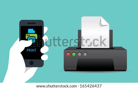 mobile wireless print - stock vector