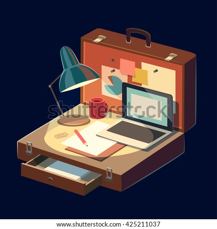 Mobile workplace. Concept vector illustration. - stock vector