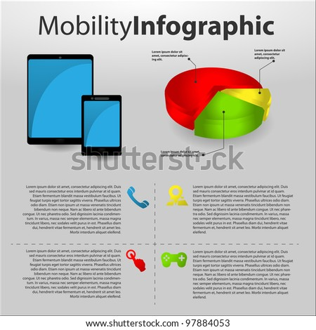 mobility info graphic with mobile devices - stock vector