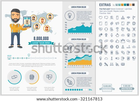 Mobility infographic template and elements. The template includes illustrations of hipster men and huge awesome set of thin line icons. Modern minimalistic flat vector design. - stock vector