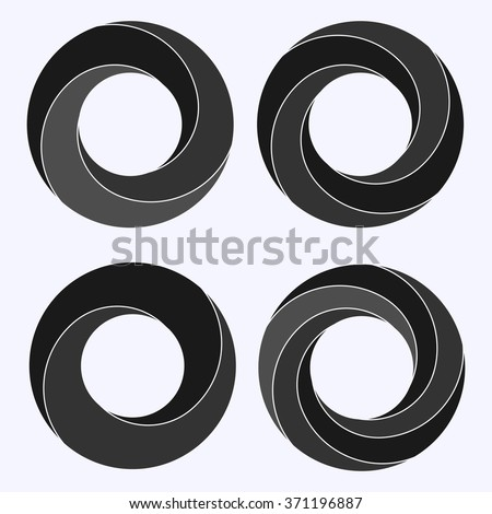 Mobius strip. Circular shape with inverted side. Closed dimensional loop.  Logo symbolizes infinite, repetition, recurrence. Abstract vector illustration. Set of four circular shapes. - stock vector