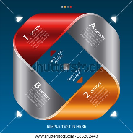 Mobius strip of paper. Vector option info-graphic. EPS 10. RGB. All effects are created with simple gradients and transparency, no mesh.  File is layered with global colors.  - stock vector