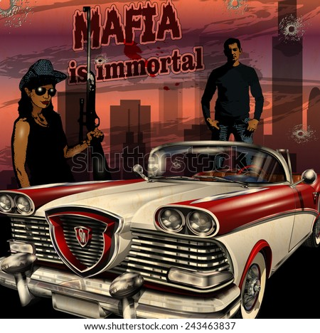 Mobster couple with retro car on night city background. - stock vector
