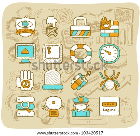 Mocha Series |  Security,business,icon set - stock vector