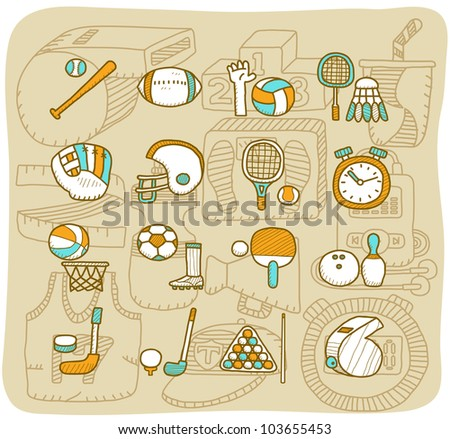Mocha Series | Sport icon set - stock vector
