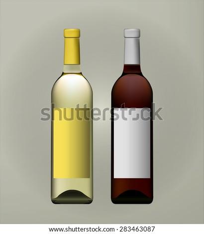 Mock up bottle of wine. Vector eps10. Labels for wine bottles. Red, rose, white wine. Liquor - stock vector