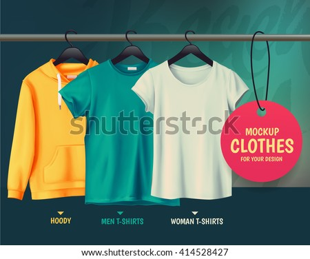 Mock-up clothes for your design.Hoody. Men t-shirts. Woman t-shirts. - stock vector