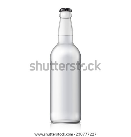 Mock Up Glass Beer Clean Bottle On White Background Isolated. Ready For Your Design. Product Packing. Vector EPS10  - stock vector